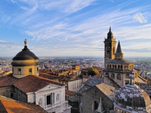 Bergamo, view from city hall tower, Lombardy, Italy